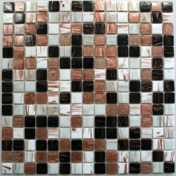 Mosaico Vetro Piastrella 20x20x4mm Marrone Mix Metallico