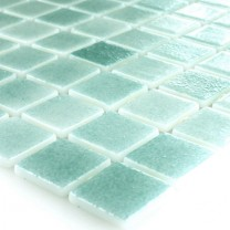 Vetro Piscina Mosaico 25x25x4mm Turchese Mix