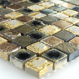 Mosaico Calcare Marmo Oro Marrone 15x15x8mm
